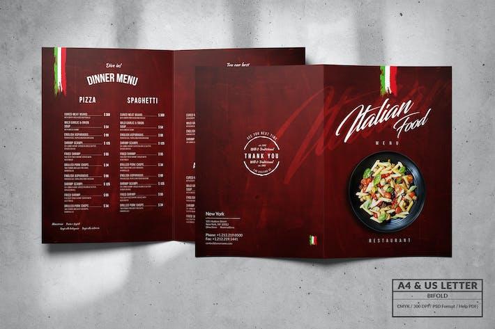 Thumbnail for Italian Bifold Food Menu Design A4 & US Letter