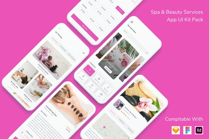 Thumbnail for Spa & Beauty Services App UI Kit Pack
