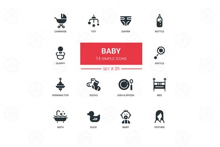 Baby - flat design icons set