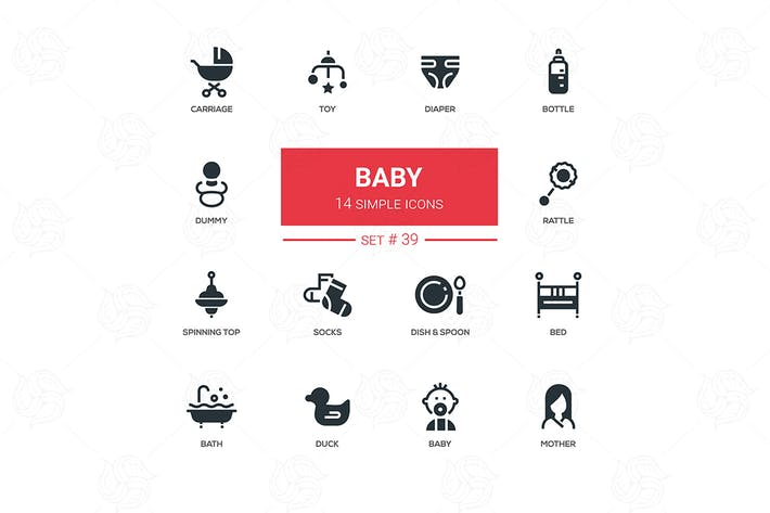 Thumbnail for Baby - flat design icons set