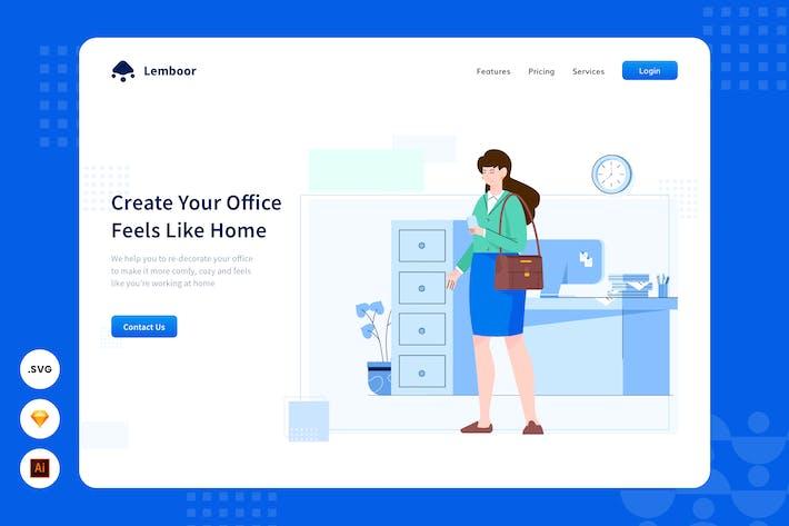 Thumbnail for Bureau confortable - En-tête de site Web - illustration