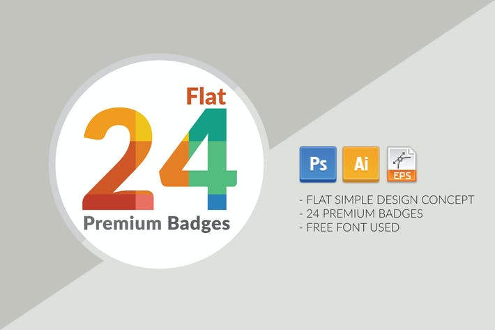 Cover Image For 24 FLAT PREMIUM BADGES