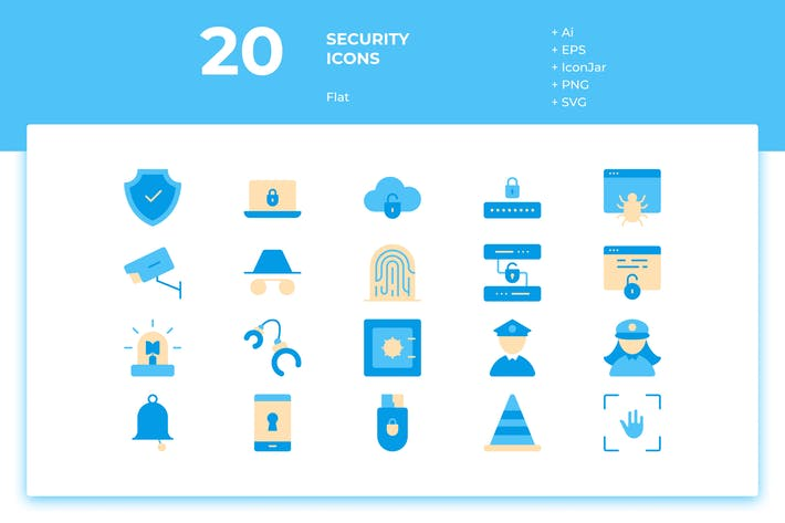 Thumbnail for 20 Security Icons (Flat)