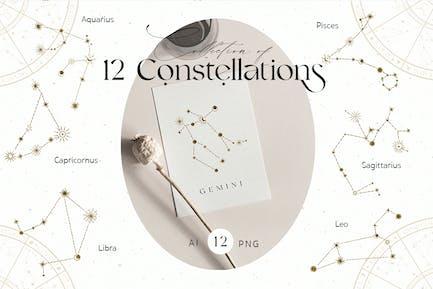 Constelación del Zodíaco Íconos de Oro