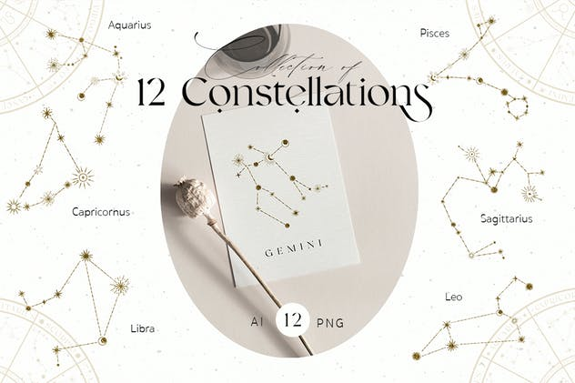 Zodiac Constellation Gold Icons