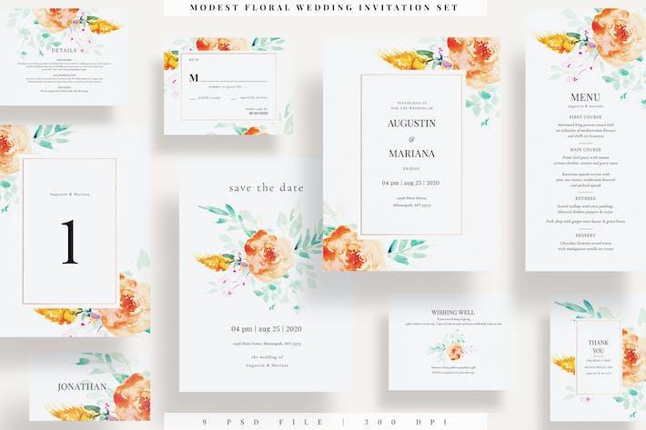 Thumbnail for Modest Floral  Wedding Invitation Set EZ
