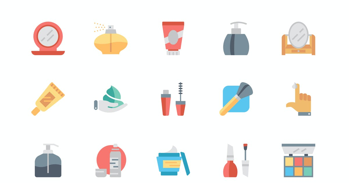 Download Simple Set Cosmetics Flat Icons by alexdndz