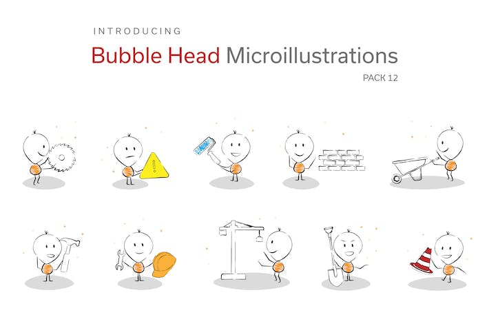 Thumbnail for Bubble Head Micro Illustrations - Construction