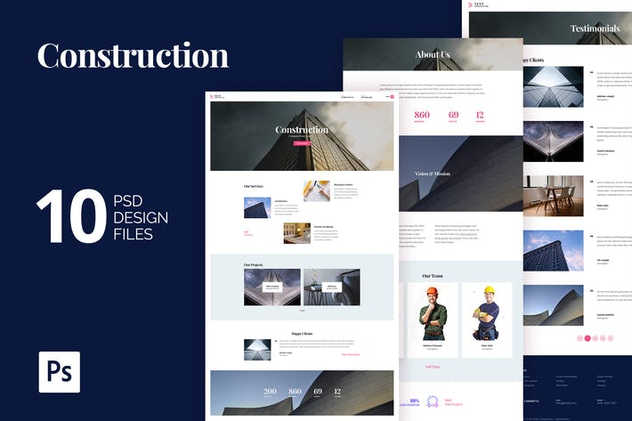 Thumbnail for Construction Building Agency PSD Website Template