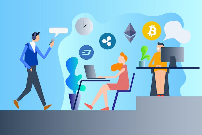 Thumbnail for Cryptocurrency Work 2D Illustration