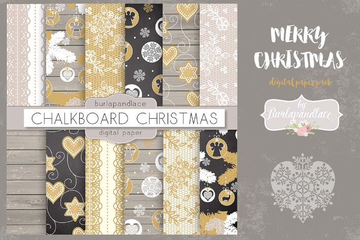 Thumbnail for Merry Christmas digital paper pack