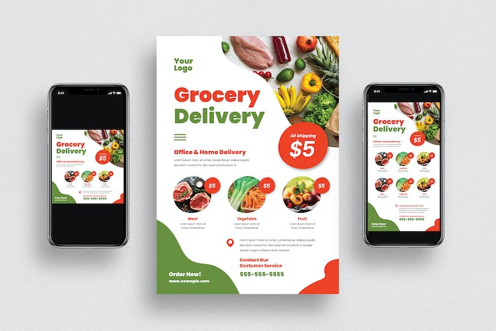 Thumbnail for Grocery Delivery Flyer + Social Media
