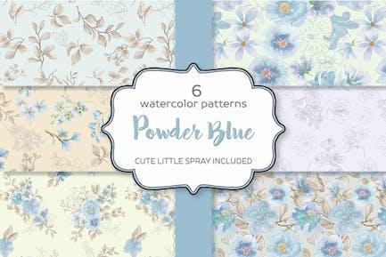 Powder Blue Watercolor Patterns