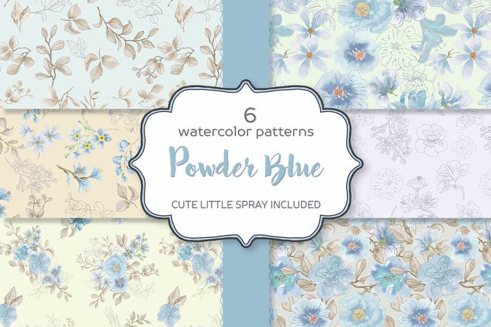 Thumbnail for Powder Blue Watercolor Patterns