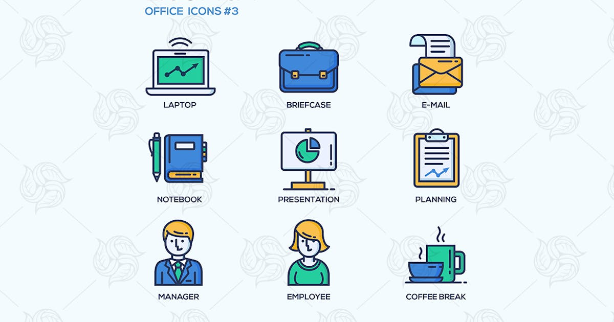 Download Set of modern office thin line flat design icons by BoykoPictures