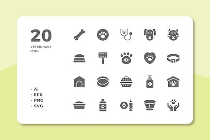 20 Veterinary Icons (Solid)