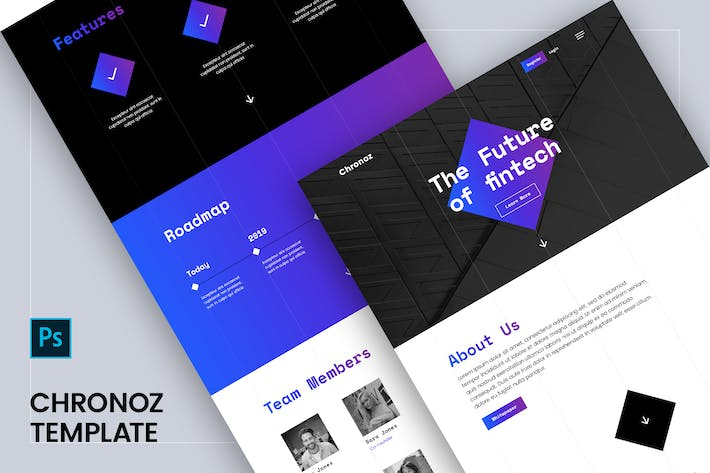 Thumbnail for Chronoz PSD Template - Landing for StartUp