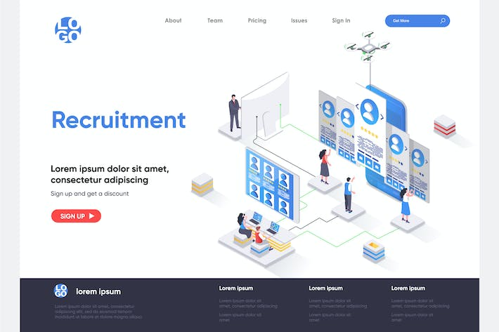 Thumbnail for Recruitment Isometric Landing Page Template