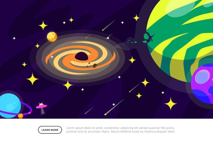 Schwarzes Loch - Weltraum-Illustrations