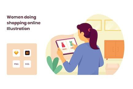 Women Ordering items online shopping Illustration