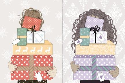 Mujeres Jóvenes sosteniendo regalos