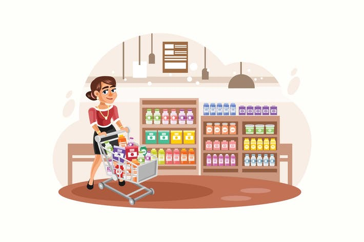 Thumbnail for Young Woman Shopping at Supermarket Illustration