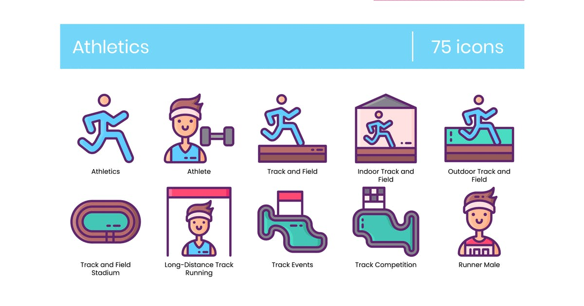 Download 75 Athletics Line Icons by Krafted