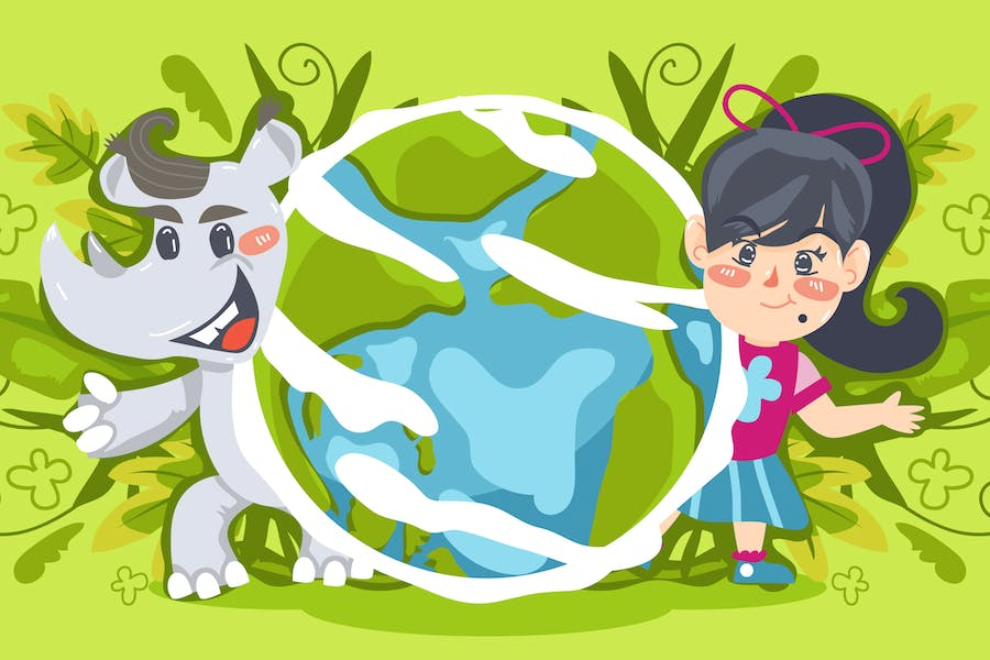 Save Our Earth Kids Illustration