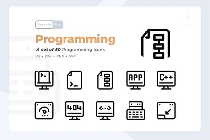 Smoothline - 50 Programming icon set