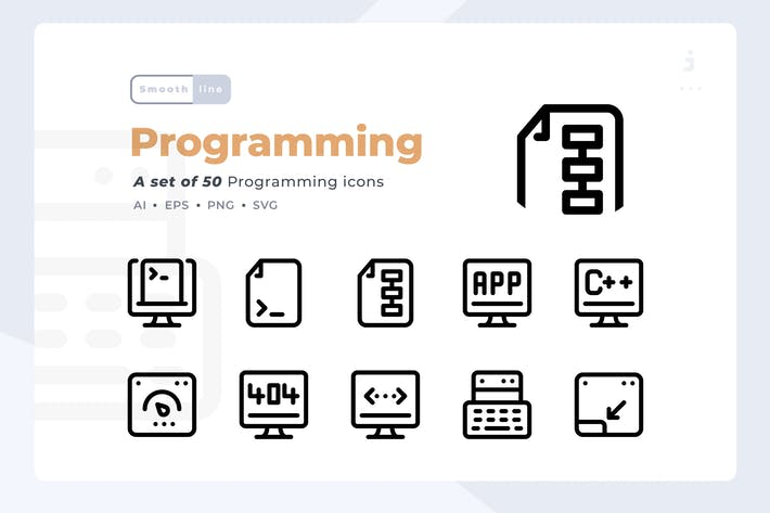 Thumbnail for Smoothline - 50 Programming icon set