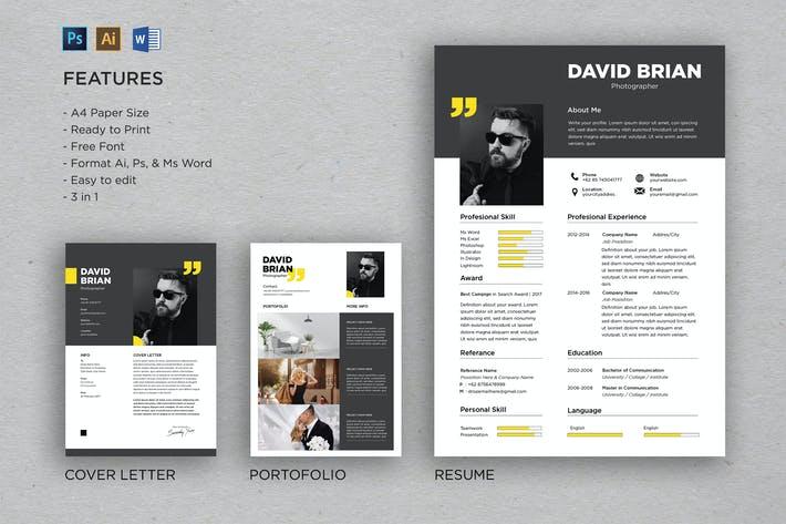 Cover Image For Professional CV And Resume Template David