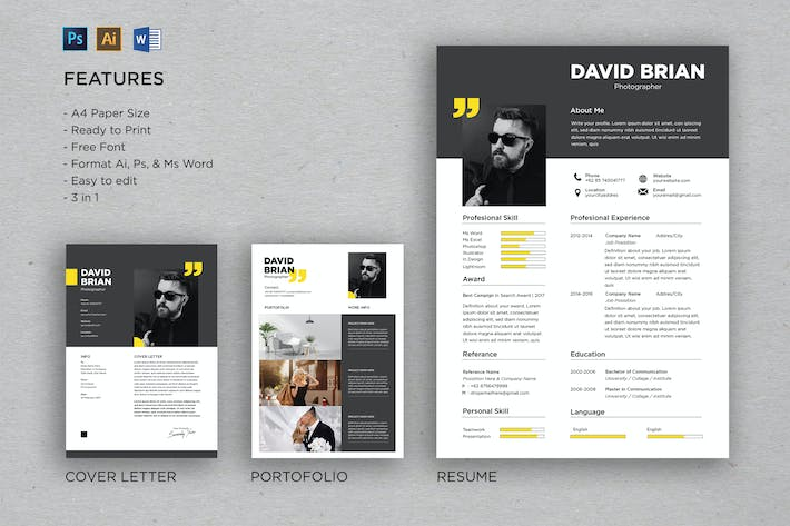 Thumbnail for Professional CV And Resume Template David