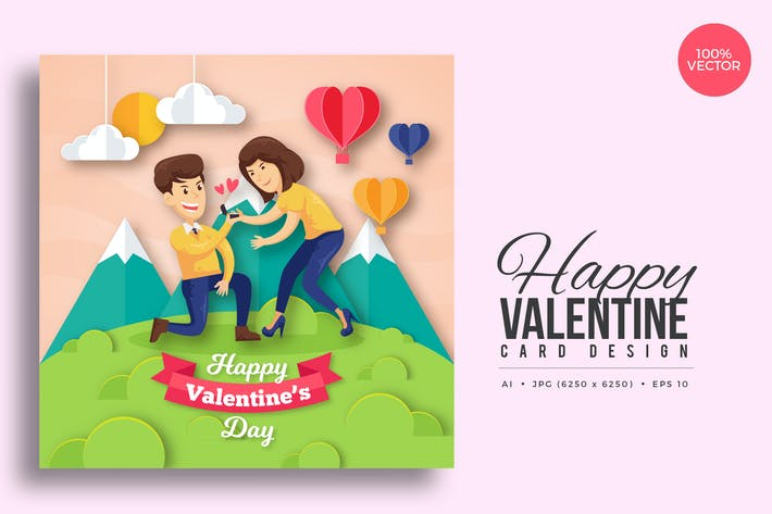 Thumbnail for Paper Art Valentine Square Vector Card Vol.7