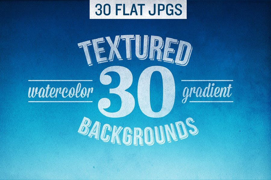 30 FLAT Textured Watercolor Background