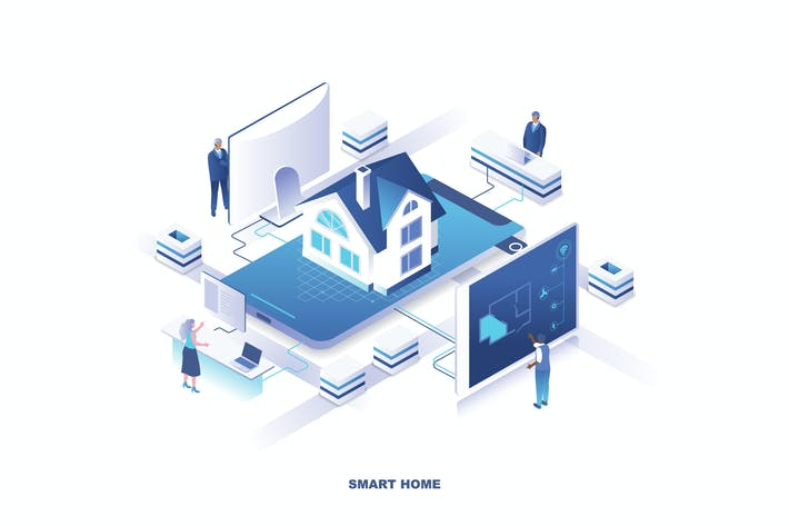 Cover Image For Smart Home Isometric Banner Flat Concept