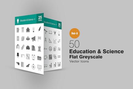 50 Íconos de escala de grises de Educación y Ciencia