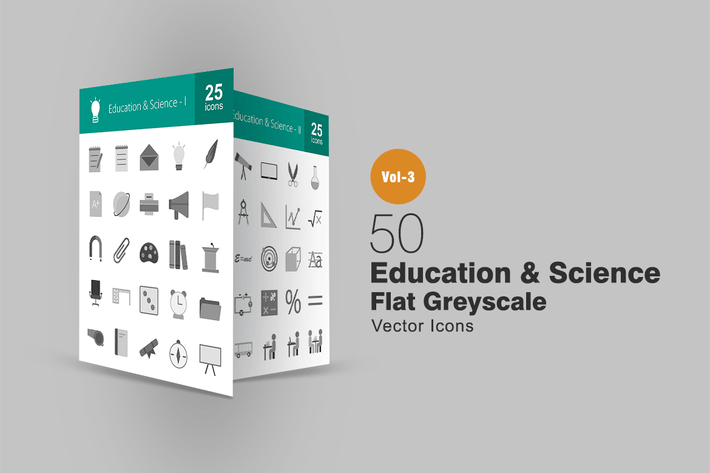 Thumbnail for 50 Education & Science Greyscale Icons