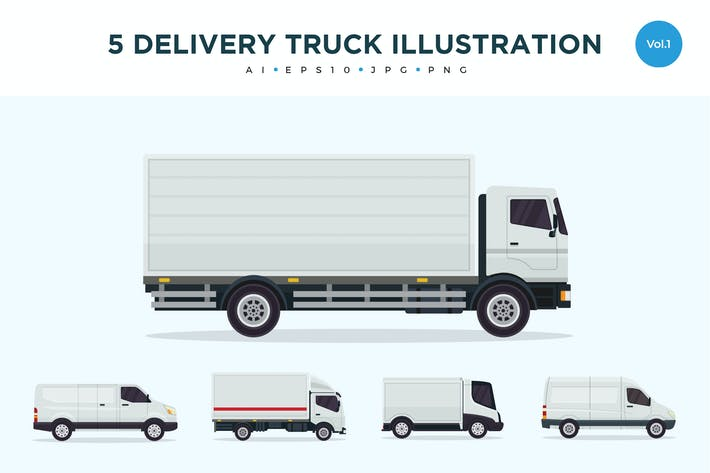Thumbnail for 5 Delivery Truck Vector Illustration Set 1