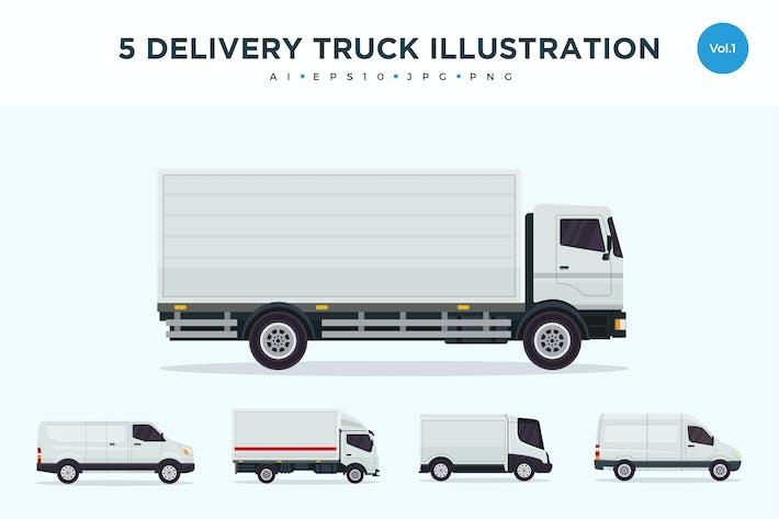 Thumbnail for Juego de 5 ilustraciones Vector para Camión Kit entrega 1