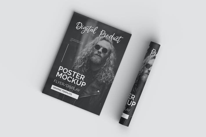 Thumbnail for Top View Realistic Poster Flyer Mockup