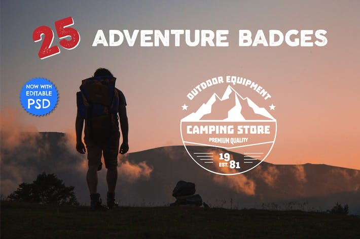 25 Vintage Adventure Badges & Logos Templates