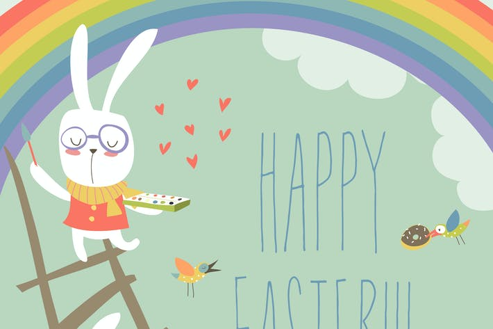 Funny easter bunnies with rainbow. Vector