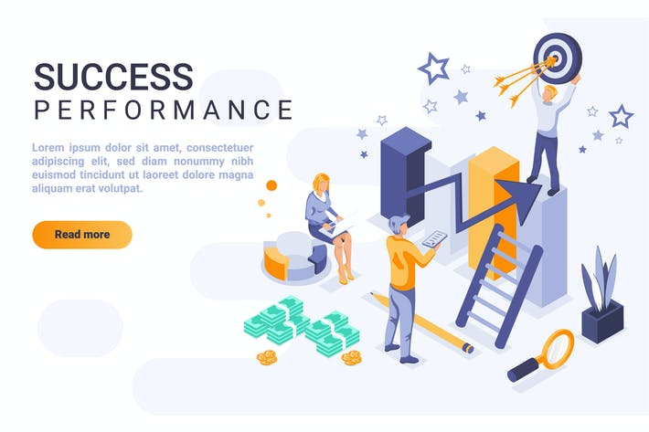 Thumbnail for Success Performance Isometric Header Flat Concept
