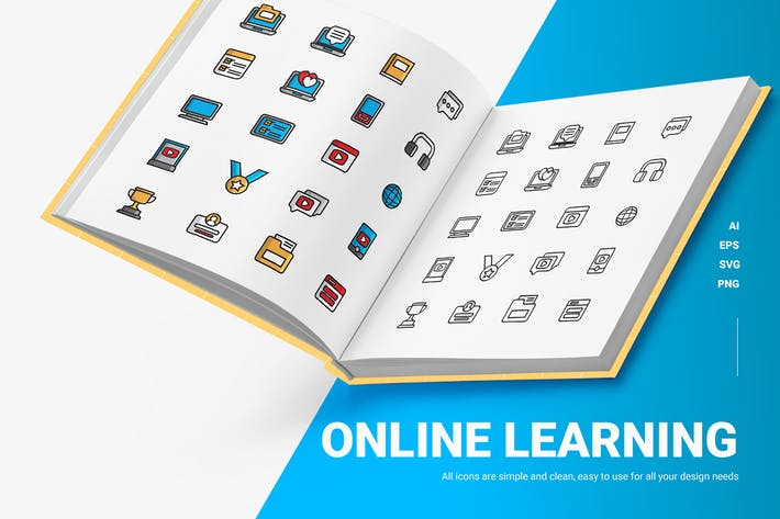 Online-Lernen - Icons