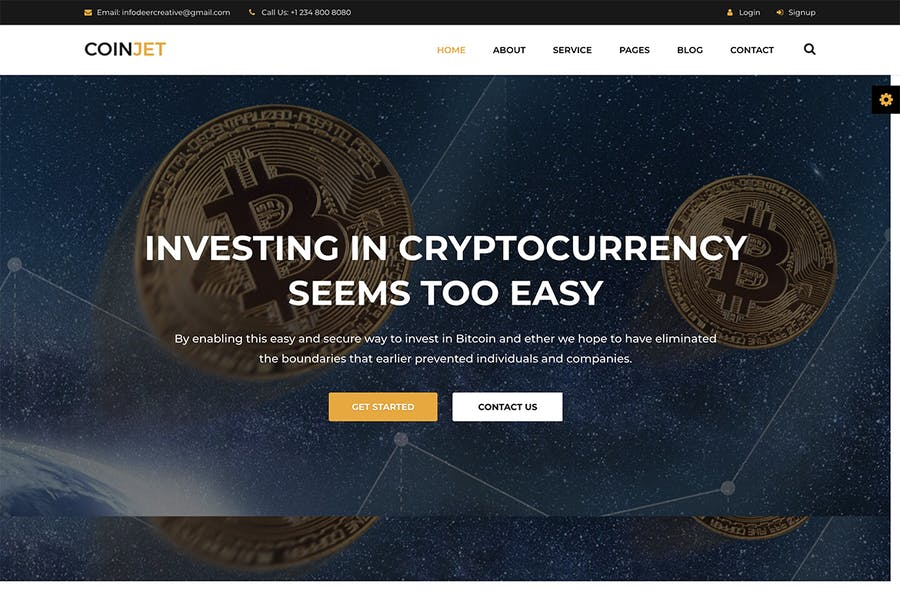 CoinJet   Bitcoin & Crypto Currency HTML Template