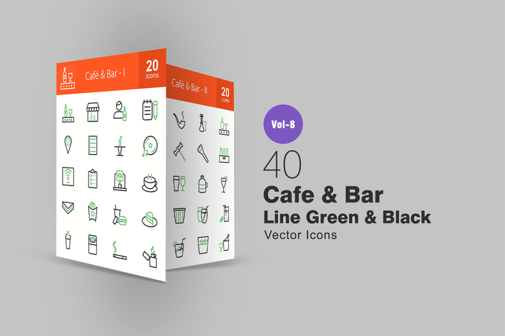 Thumbnail for 40 Cafe & Bar Green & Black Line Icons