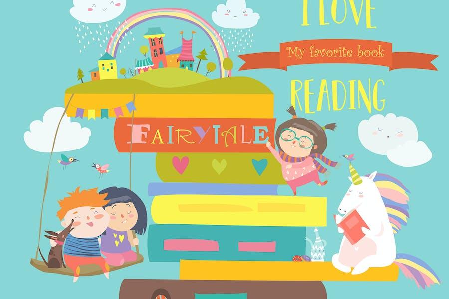 Märchenkonzept mit Buch, Einhorn und Kindern.