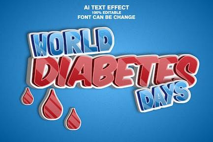 World diabetes days 3d text effect