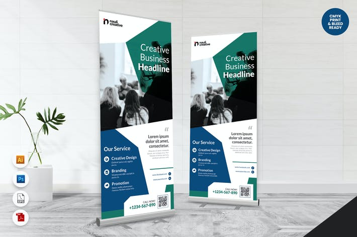 Creative Roll Up Banner AI & PSD Template Vol.38