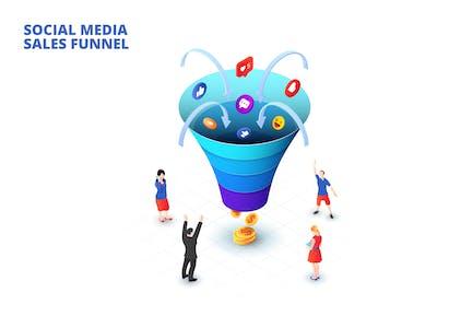 Isometric social media sales funnel concept